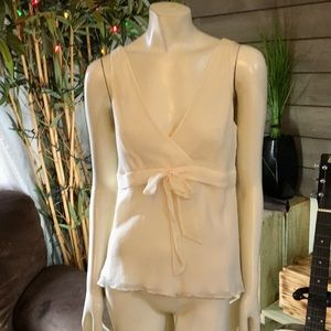 J.Crew Creme Colored Tie Front Silk Top Size 10